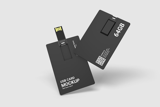 Close up on usb card mockup
