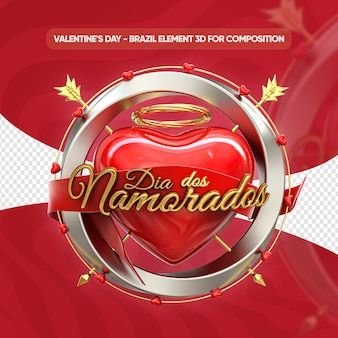 Close up on valentines day logo render isolated