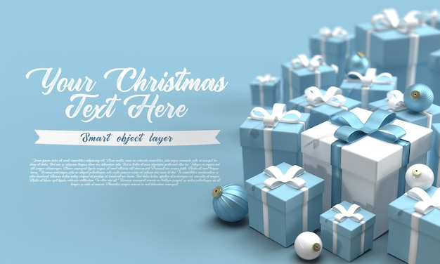 Close up on various gifts with baubles mockup