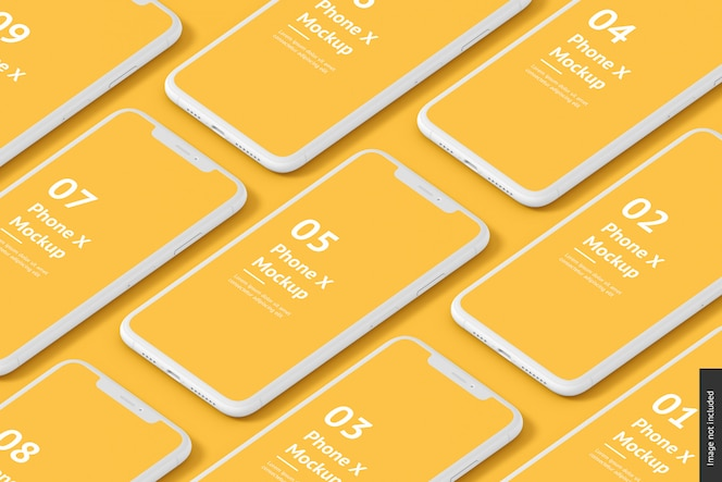 Close up on various phones mockup