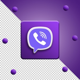 Close up on viber logo rendering isolated