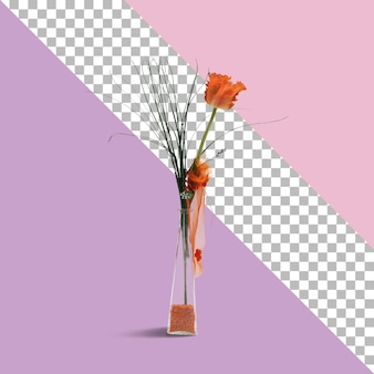 ガラス上の造花をクローズアップビュー