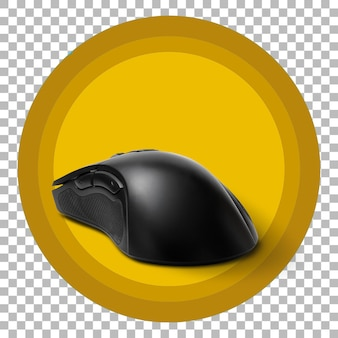 Close up view black gaming mouse on transparent background Premium Psd