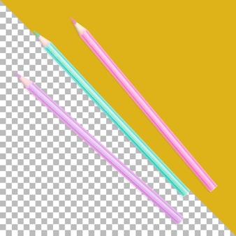 分離されたカラフルな鉛筆をクローズアップ