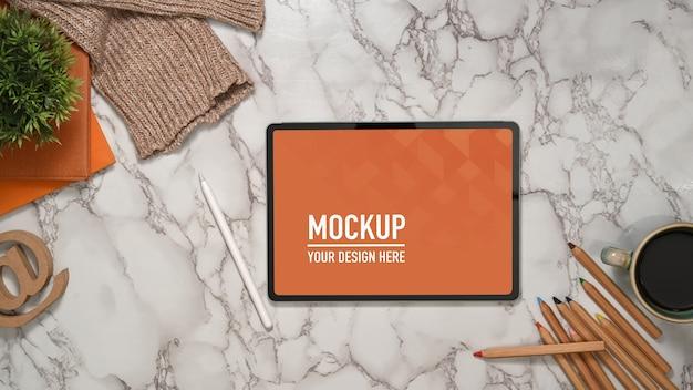 Close up view of digital tablet mockup Premium Psd