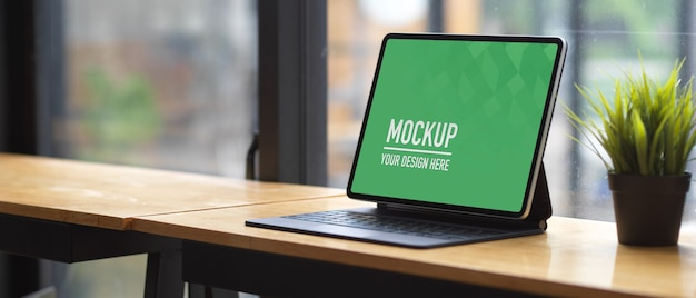Close up view of digital tablet mockup Premium Psd