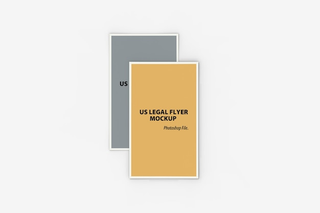 Close up view of double us legal flyer mockup