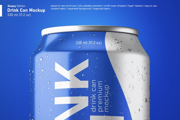 Close up view of glossy soda drink can mockup