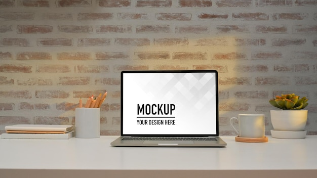 Close up view of home office desk with laptop mockup Premium Psd