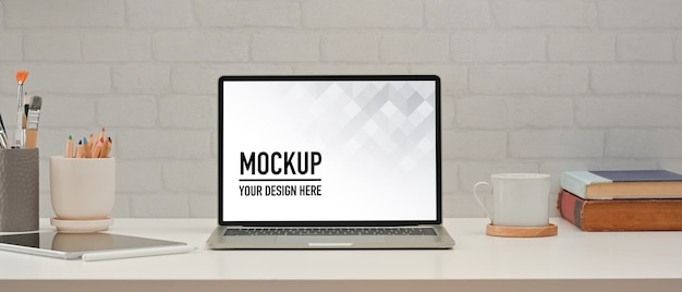 Close up view of home office room with laptop mockup