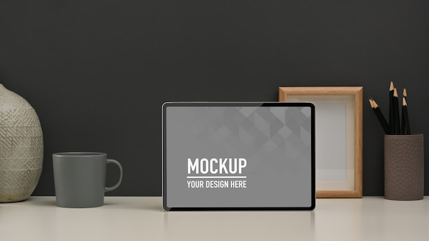 Close up view of home office room with tablet mockup