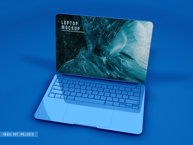 Close up view of laptop mockup design