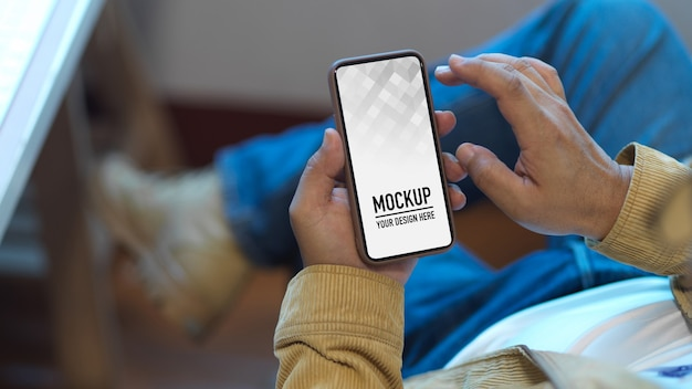 Close up view of male using smartphone mockup