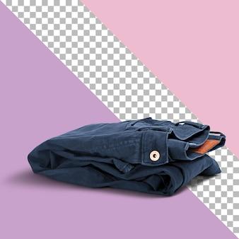 Крупным планом вид сложенных синих джинсов