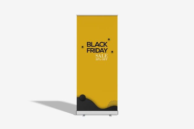 Close up view of roll up banner mockup