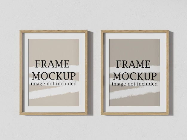 Close up view two wall frames mockup for pictures