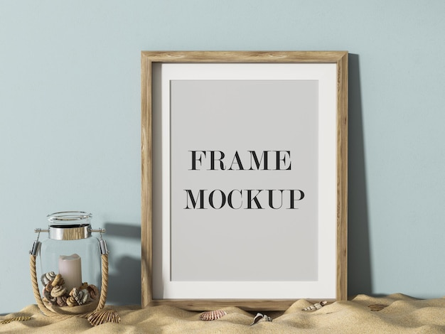 Close up view wooden frame design