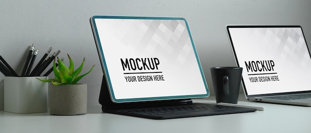Close up view of workspace with laptop mockup