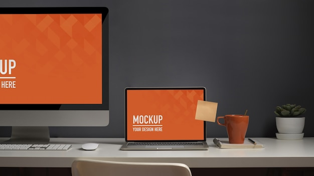 Close up view of worktable with computer laptop mockup