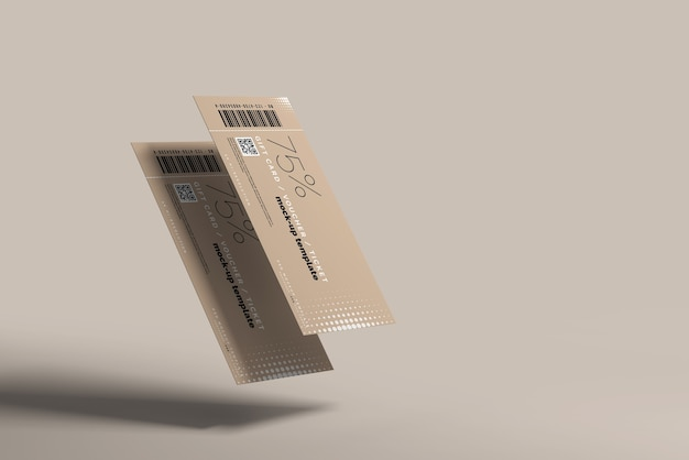 Close up on voucher or ticket mockup