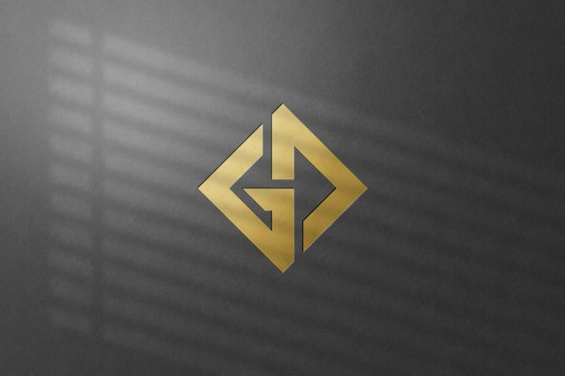 Close up on wall logo mockup isolated