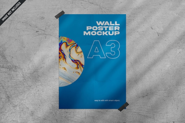 Close up on wall poster mockup isolated