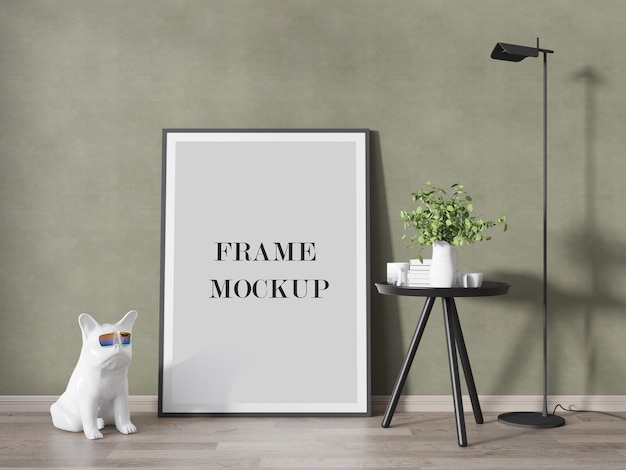 Close up on white frame mockup with decorations