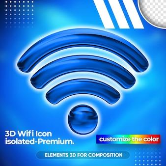 Close up on wifi network 3d render design