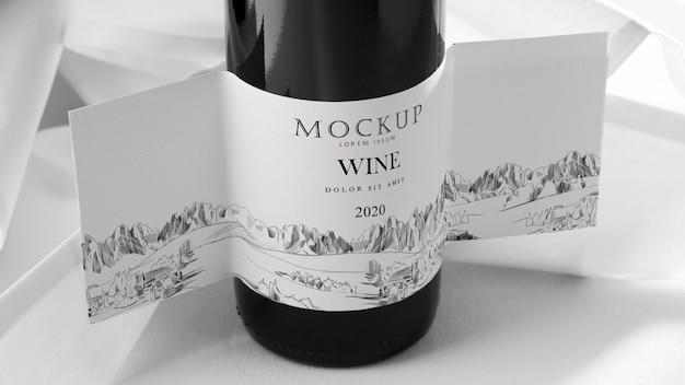 Close up wine bottle label mock up