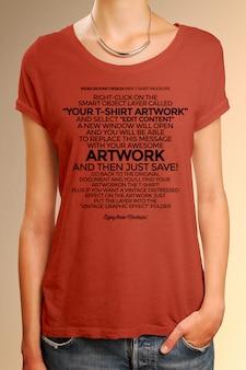 Close up on woman wearing t-shirt mockup