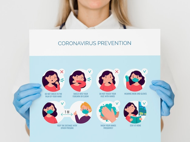 Close-up woman with coronavirus prevention