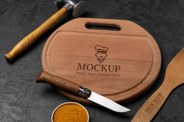 Close up on wooden cutting board mockup