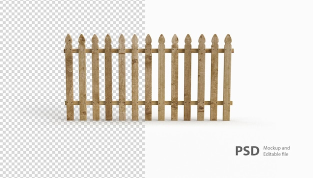 Close up on a wooden fence rendering isolated