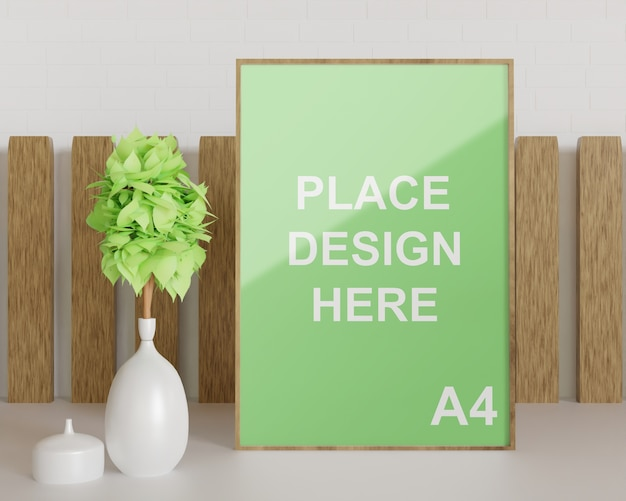 Close up on wooden frame mockup with white plant vase