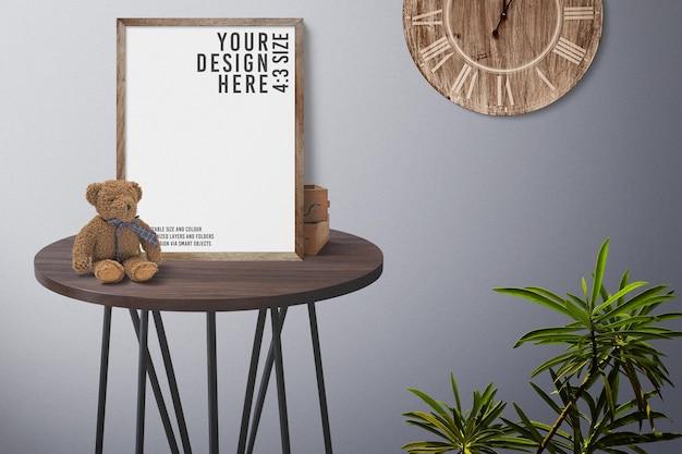 Close up on wooden photo frame mockup design