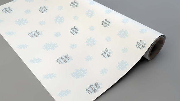 Close up on wrapping gift paper mockup