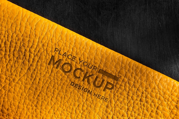 黄色皮革模拟特写镜头