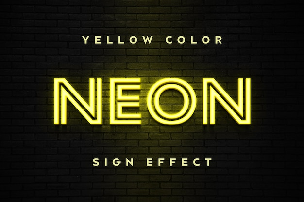 Close up on yellow neon sign text effect template