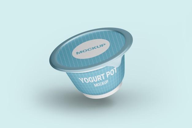 Close up on yogurt packaging mockup