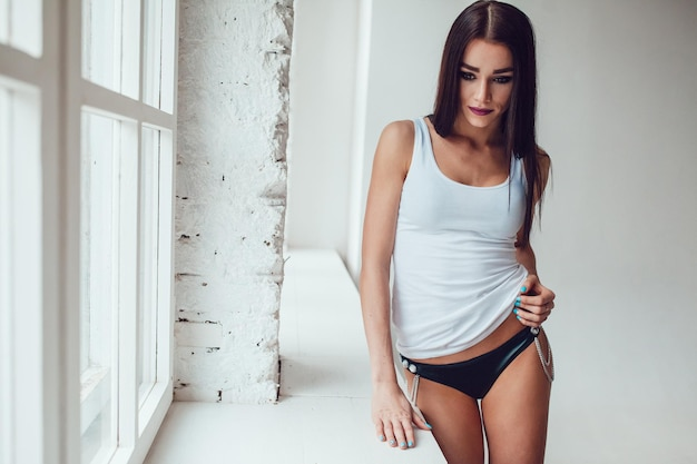 Close up on young woman wearing tank top mockup