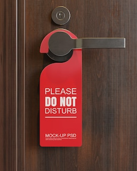 Close view on door hanger mockup