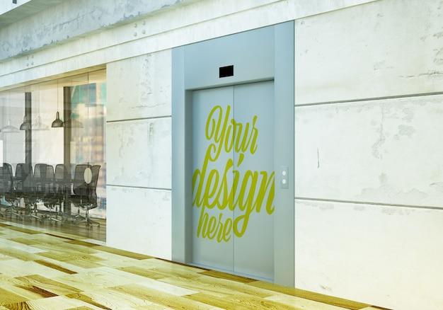 사무실 모형에서 닫힌 엘리베이터