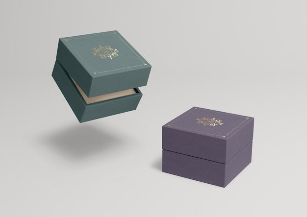 Closed jewelry boxes with different colours