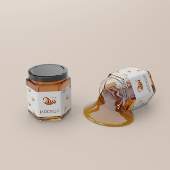 Closed and opened jar with honey