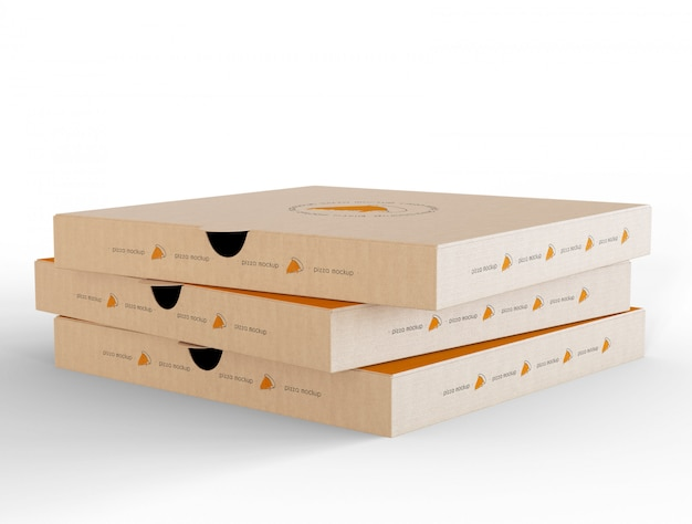 Closed pizza box mockup