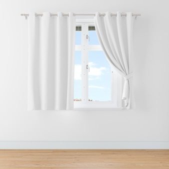 Closed window with curtains