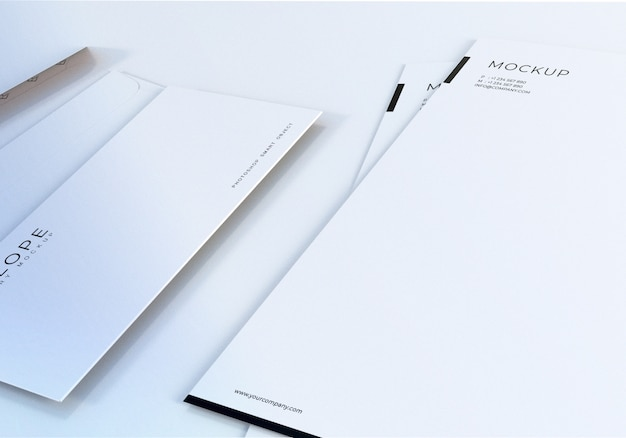 Closeup clean white envelope mockup