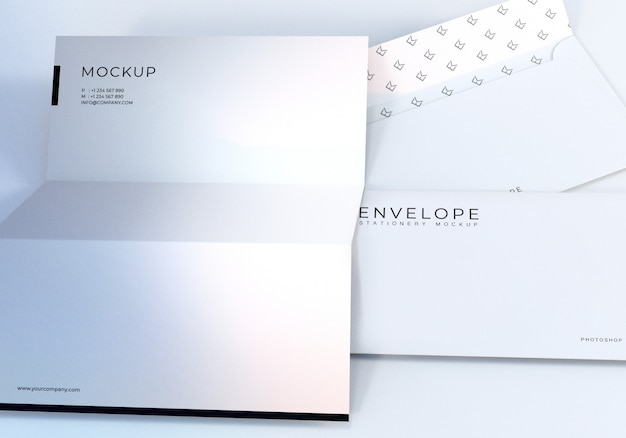 Closeup envelope and letterhead mockup design