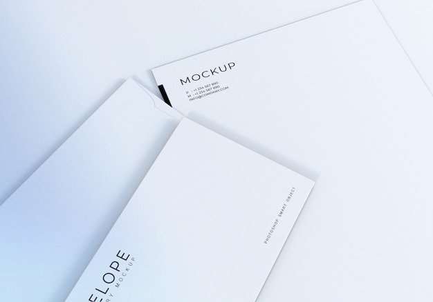 Closeup envelope monarch and letterhead design mockup