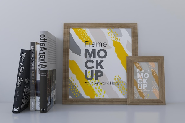 Closeup of frames mockup with books on the shelf